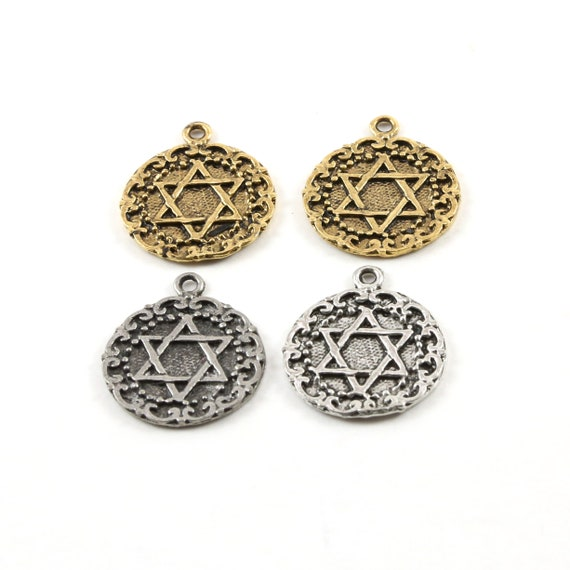 2 Pieces Round Star of David Decorative Coin Pendant Charm Charm Religious Pendant 20mm x 15mm