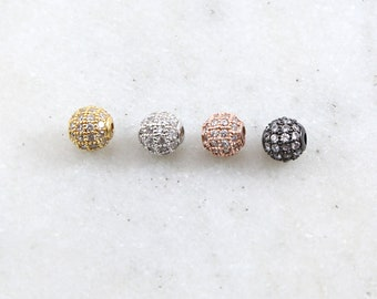 6mm Small Pave Cubic Zirconia Ball Spacer Bead Rhodium Plated in Gold, Rose Gold, Gunmetal Jewelry Making Supplies