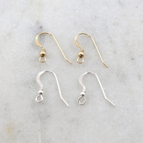 1 Pair French Hook Ear Wire with Ball and Coil Flattened Edge Earring Wires Earring Hook Component in Sterling Silver or 14K Gold Filled