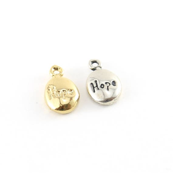 Thick Oval Hope Inspirational Charm Sterling Silver or Vermeil Gold Small Sayings Pendant