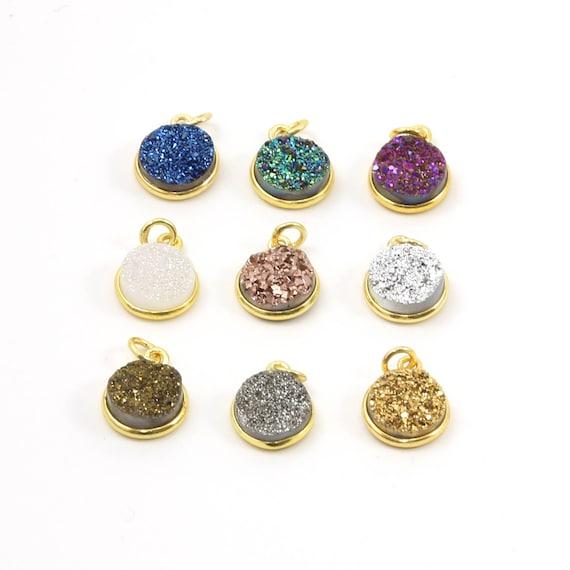 Pretty Bezel Druzy Single Loop Pendant Charm 10mm Sterling Silver or Vermeil / Choose your Color
