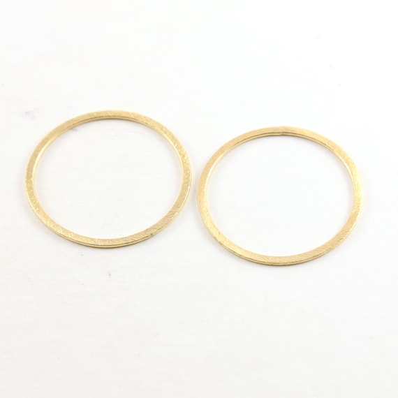 2 Pieces Medium 34mm Brushed Gold Textured Open Circle Connector Ring Rhodium Plated Brass