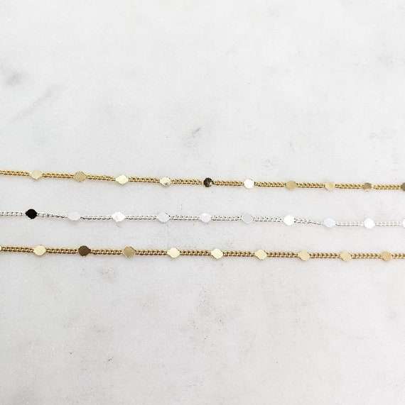 Tiny Delicate 1mm Base Metal Chain Shiny Gold, Silver, or Matte Gold Plated with 2mmFlat Discs/ Chain by the Foot / Unfinished Chain