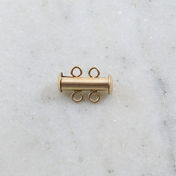 Magnetic 2-Strand Slide Clasp in 14K Gold Filled Jewelry Making Supplies Chain Findings