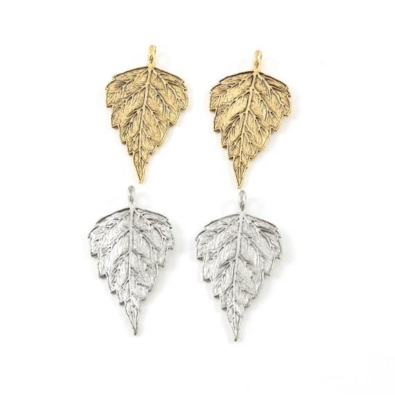 2 Pieces Detailed Pewter Birch Leaf Nature Pendant Antique Gold, Antique Silver