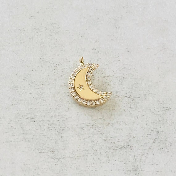 Tiny Small Gold Plated CZ Crescent Moon Cubic Zirconia Charm  Celestial Unique Charm