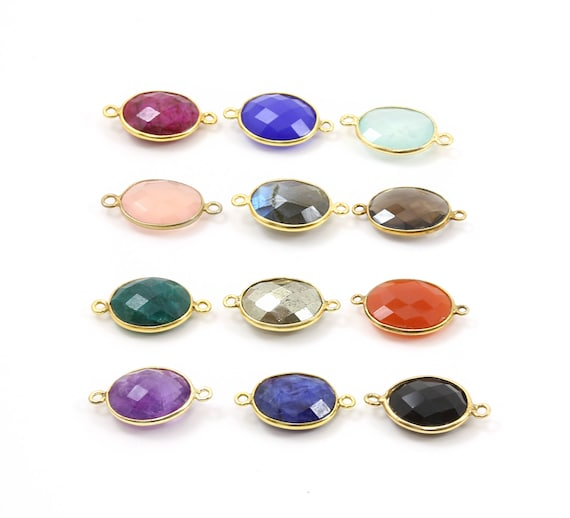 Oval Semi Precious Faceted Gemstone Connector Bezel Charm / Vermeil or Sterling Silver / Choose your Stone