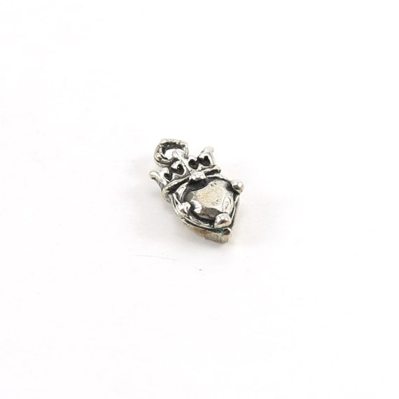 Sterling Silver Faceted Jewel Heart with Crown Charm Queen Princess Charm Pendant