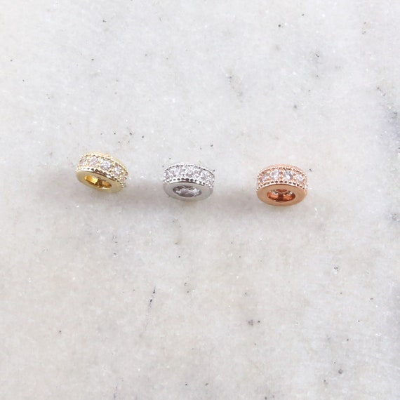 6mm Pave Cubic Zirconia CZ Gold, Silver, Rose Gold Rhodium Plated Spacer Flat Rondelle Bead Jewelry Making Supplies