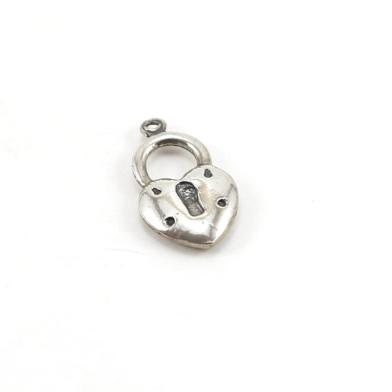 Cute Heart with Lock Charm in Sterling Silver Love Valentines Day Best Friend Pendant