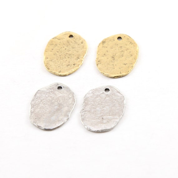 2 Pieces 20mmx 15mm Pewter Metal Oblong Oval Textured Hammered Rounded Stamping Disc Charm in Antique gold or Antique Silver