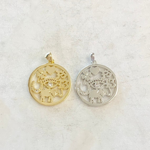 Good Luck CZ Coin Charm, Heart, Four Leaf Clover, Horseshoe, Evil Eye, Elephant, Rhodium Plated, Gold Plated, Shiny Gold, Shiny Silver
