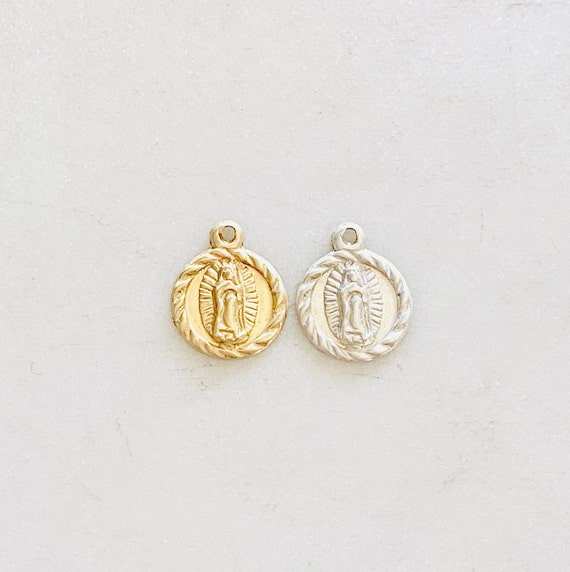 Mini Tiny 14K Gold Filled or Sterling Silver Our Lady of Guadalupe Virgin Mary Round Circle Delicate Featherweight Charm Gold, Silver Charm