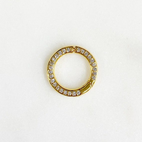 Clicker Clasp Charm Holder CZ Pave Gold Plated Charm Ring Gate Clasp Jewelry Making Supplies Chain Findings