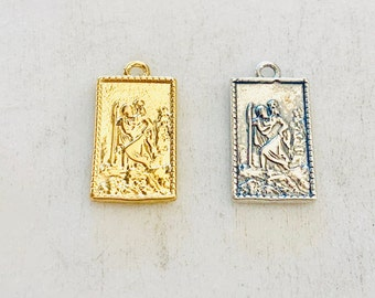Dainty Small Saint Christopher Rectangle Charm Sterling Silver or Vermeil Gold Religious Charm Catholic Pendant saint Charm 16mm x 9mm