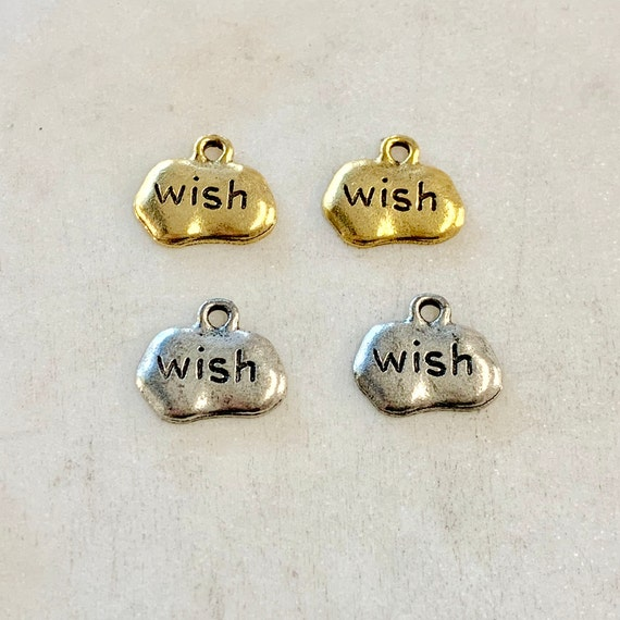 2 Pieces Pewter Metal Small Wide Stamped With Wish Stamped Charm Pendant Inspirational Charm Antique Gold, Antique Silver