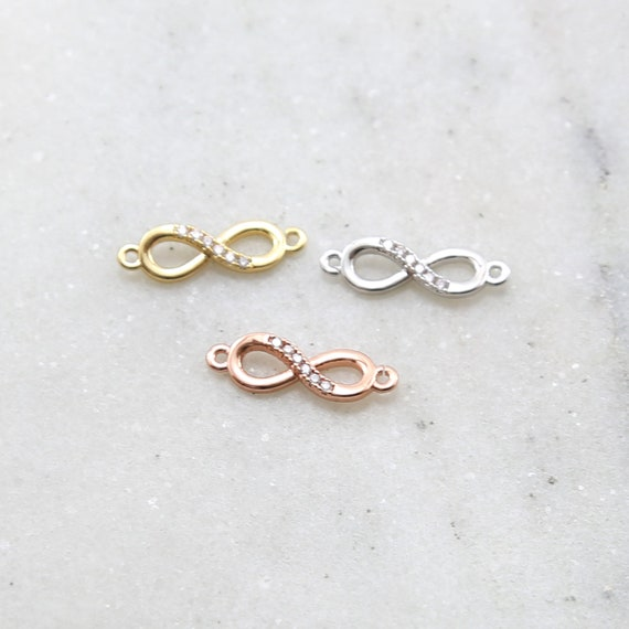 Dainty CZ Infinity Connector Charm Rhodium Plated in Gold, Silver or Rose Gold