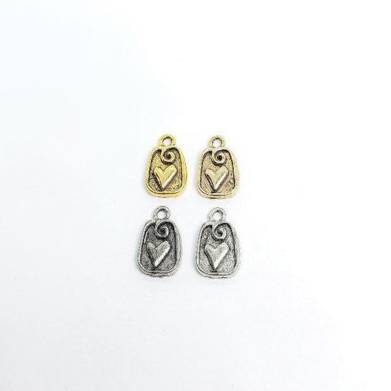 2 Pieces Pewter Shadow Box Heart Charm with Loop Charm Love Friendship Pendant, Earring Component Gold Color, Silver Color