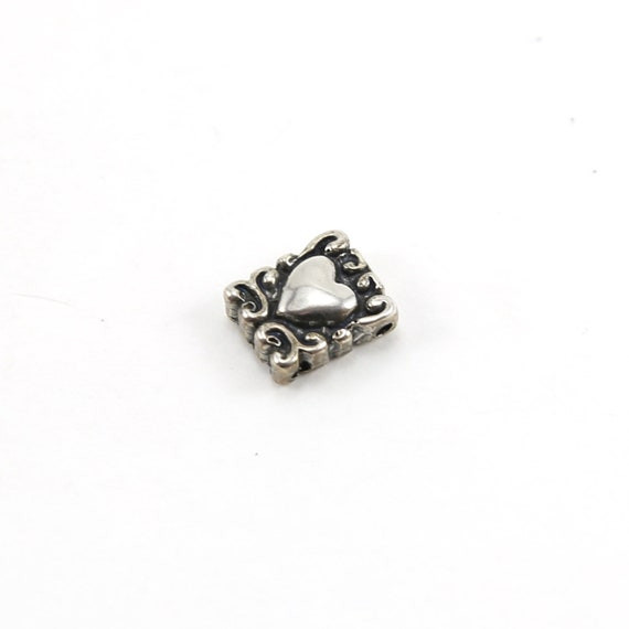 Sterling Silver Swirl Rectangle Heart Bead Charm Love Friendship Valentines Day Pendant