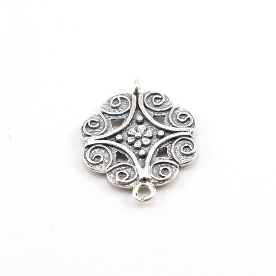 Sterling Silver Flower Octagon Double Sided Connector Charm with Beaded and Swirl Detailing