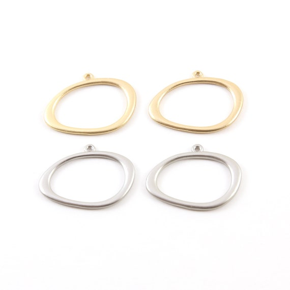 2 Pieces Smooth Pewter Base Metal Open Raw Organic Shape Egg Circle Charm Matte Gold or Matte Silver
