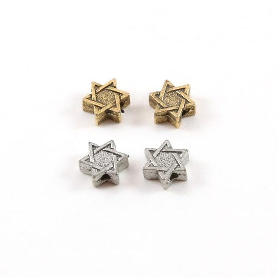 2 Pieces Pewter Tiny Small Star of David Bead Charm Religious Jewish Symbol 6mm
