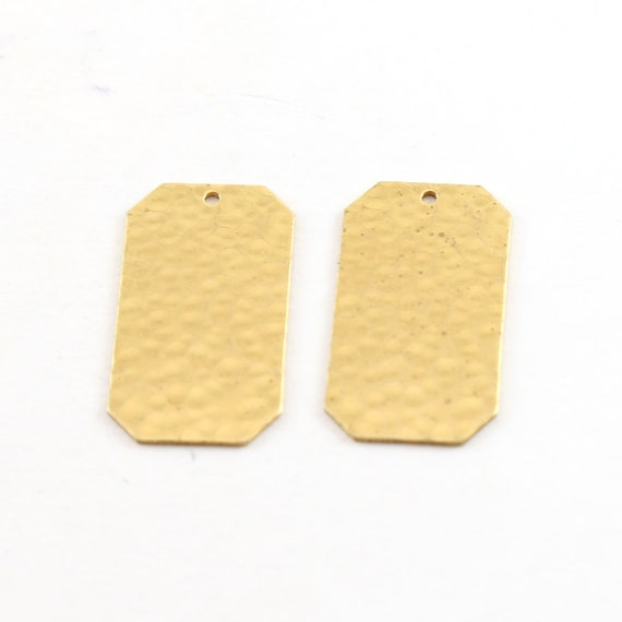 2 Pieces Hammered Textured Thin Dog Tag Brass Metal Stamping Blank Charm Pendant
