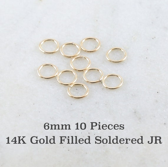 10 Pieces 6mm 20 Gauge 14K Gold Filled Soldered Closed Jump Rings Charm Links Jewelry Making Supplies Gold Findings