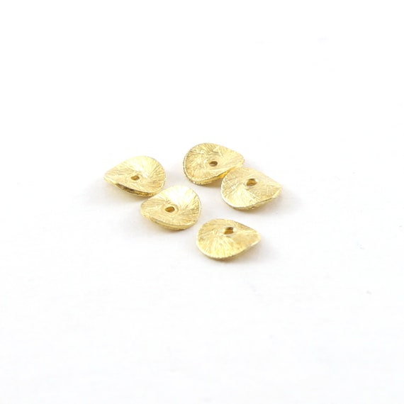 5 Pieces 6mm Vermeil Wavy Disc Rondelle Bead Potato Chip Spacer Beads