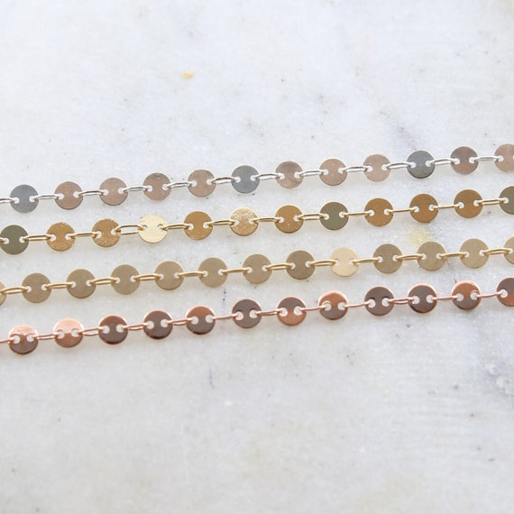 Silver, Gold, Rose Gold, Matte Gold Plated 4mm Round Flat Coin Disc Link Choker Chain Dainty Minimal Modern Chain / Chain by the Foot