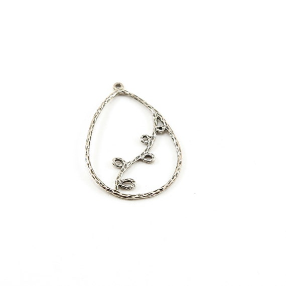 Sterling Silver Hammered Textured Open Leaf Vine Branch Teardrop Charm Nature Inspired Charms