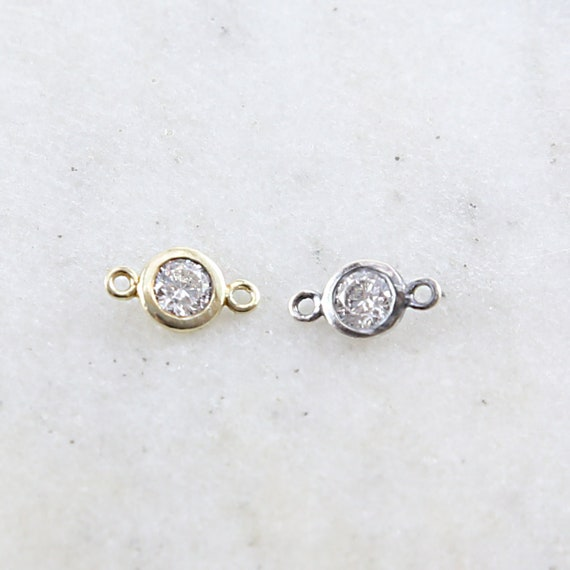 Small Sterling Silver or Vermeil CZ Cubic Zirconia 6mm Charm Connector for Necklace Bracelet Two Hole Link