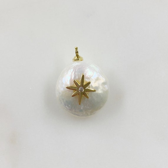 Freshwater Cubic Zirconia Center Starburst Pearl Charm Gold Plated Natural Shape Pearl Charm
