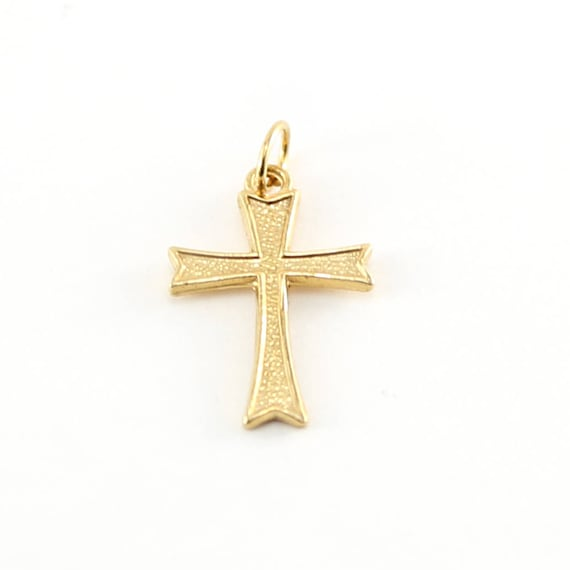 14K Gold Filled Textured Cross Charm Religious Spiritual Pendant