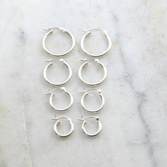 1 Pair Sterling Silver Thick Flex Tube Hoop Earrings 20mm, 18mm, 15mm, 12mm Earring Wires Earring Hook Component