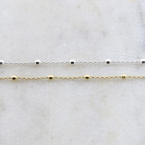 Thick 2.5mm Faceted Satellite Ball Chain Sterling Silver or Vermeil Gold Curb Chain Dainty Modern Choker Necklace Chain / sold by foot