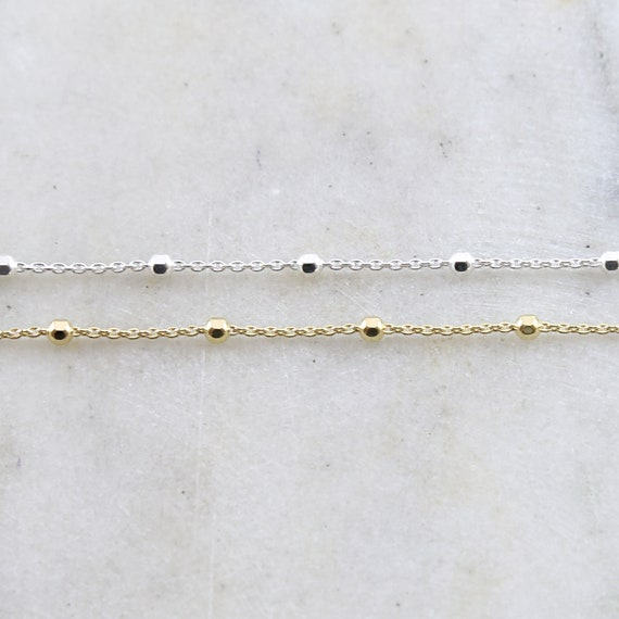 Thick 2.5mm Faceted Satellite Ball Chain Sterling Silver or Vermeil Gold Curb Chain /dainty choker chain/ sold by the foot / bulk unfinished