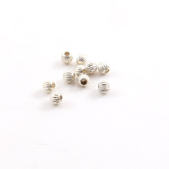10 Pieces 3mm Corrugated Seamless Round Sterling Silver 925 Spacer Beads