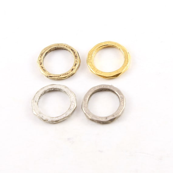 2 Pieces Medium 15mm Pewter Metal Raw Open Circle Connector Ring Charm