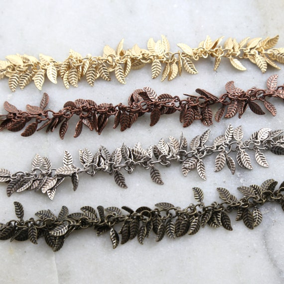 Base Metal Tiny Dangle Leaf Chain in Antique Silver, Antique Copper, Antique Brass, Matte Gold / Chain by the Foot