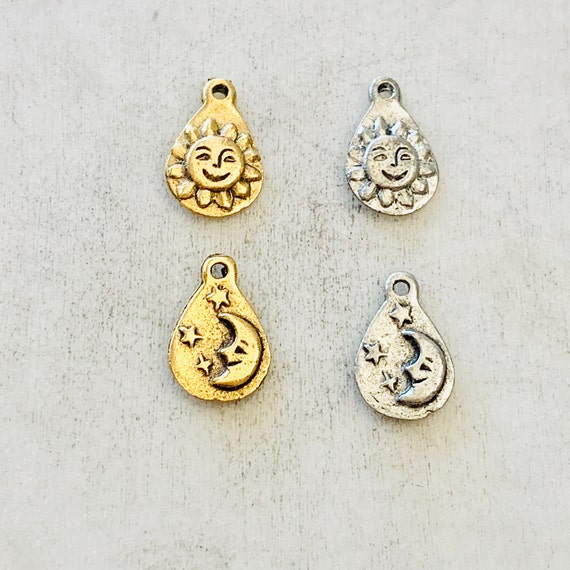 2 Pieces Pewter Smiling Sun Sunshine Charm with Moon and Stars on Back Tear Drop Shape Celestial Pendant  Antique Gold Antique Silver