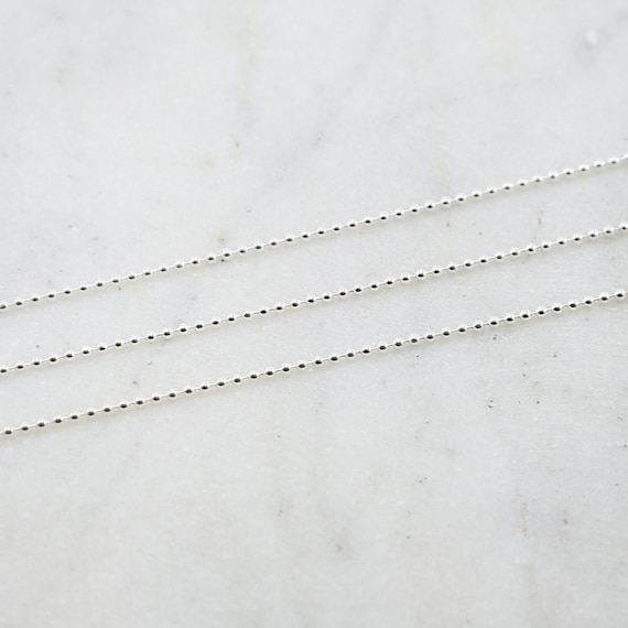 1.5mm Sterling Silver Ball Chain Dainty Lightweight Minimal Dog Tag Chain / Sold by the Foot / Bulk Unfinished Chain