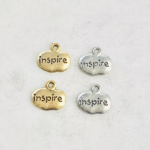 2 Pieces Pewter Wide Oval with Inspire Charm Pendant Inspirational Charm Antique Gold, Antique Silver