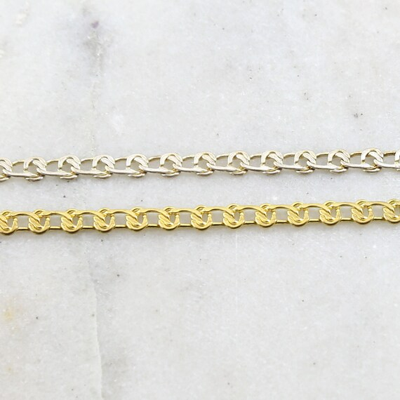Base Metal Flat Rope Chain in Shiny Gold, Shiny silver / Chain by the Foot