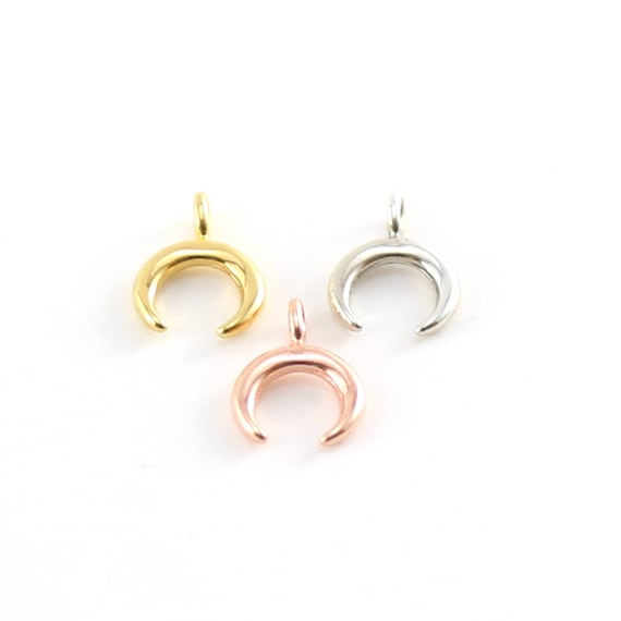 Mini Horn Upside Down Crescent Moon Charm in Sterling Silver, Vermeil Gold, or Rose Gold
