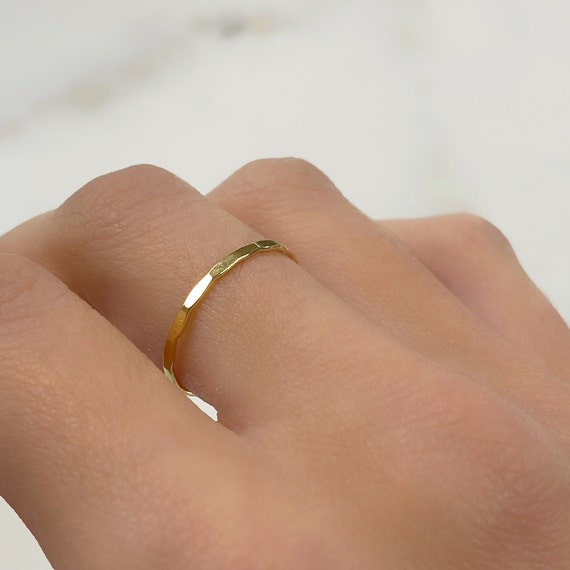 Hammered Thin Stacking Ring 14k Gold Filled Ring in Size 6 or 7