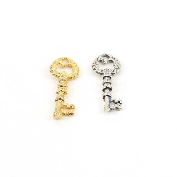 Small Detailed Skeleton Key Charm Rounded Head in Sterling Silver or Vermeil Gold