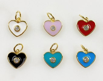 Dainty Gold Plated Heart Charm with CZ Choose Your Color White, Pink, Red, Black, Turquoise, Blue Enamel Charm Pendant