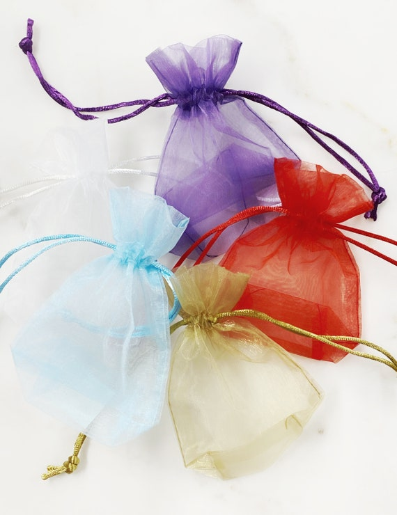 5 Piece Organza Jewelry Pouch In Every Color Choose Your Color Jewelry Bag Pouch Gift Bag Jewelry Supplies