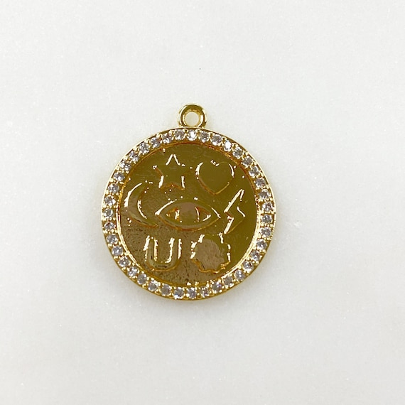 Good Luck CZ Rimmed Coin Charm, Star, Heart, Four Leaf Clover, Bolt, Evil Eye, Crescent Moon, Horseshoe, Gold Plated Shiny Gold Charm